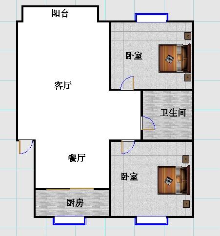 华宇国际公寓 2室2厅 双证齐全 简装 99万