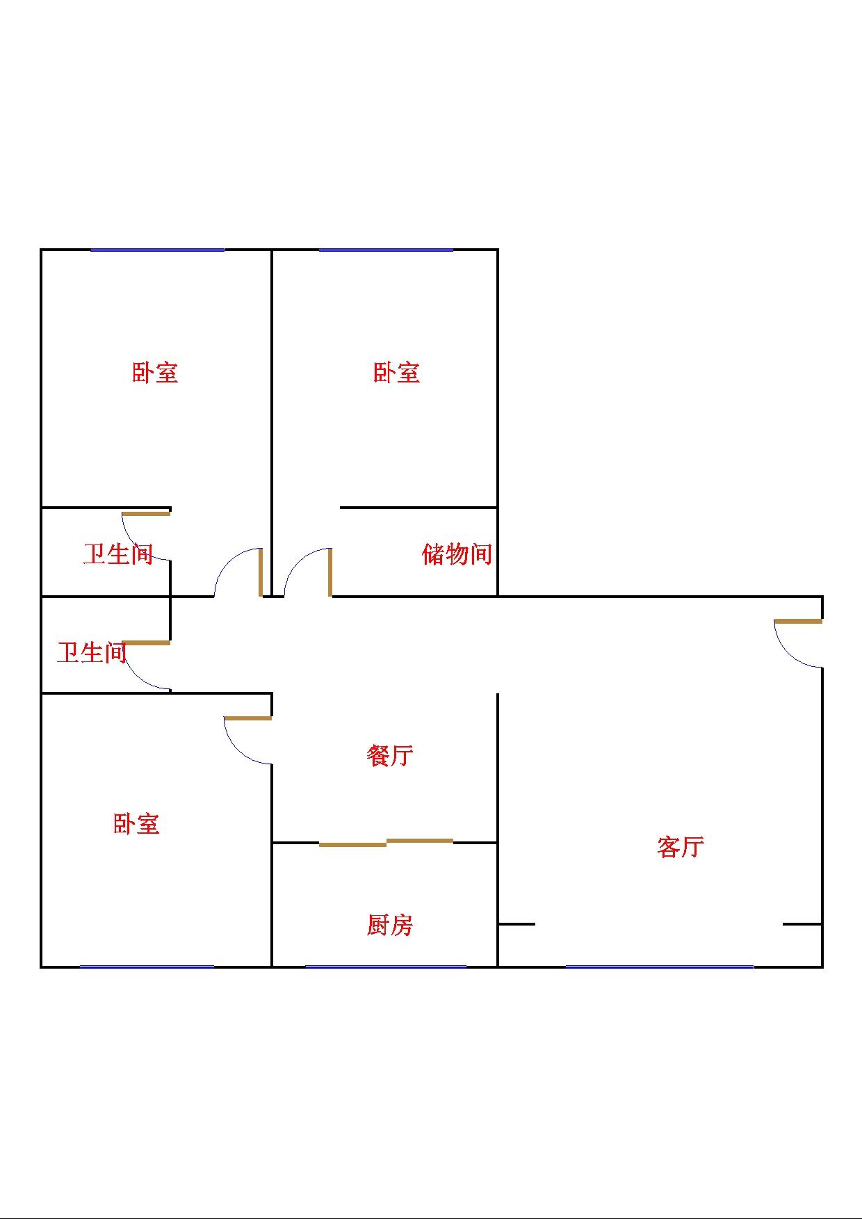 康博公馆 3室1厅  毛坯 210万