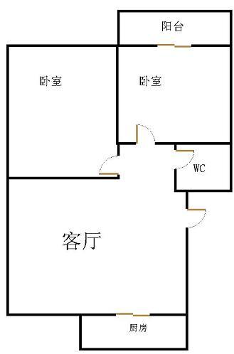 天马公寓 2室2厅  简装 43万