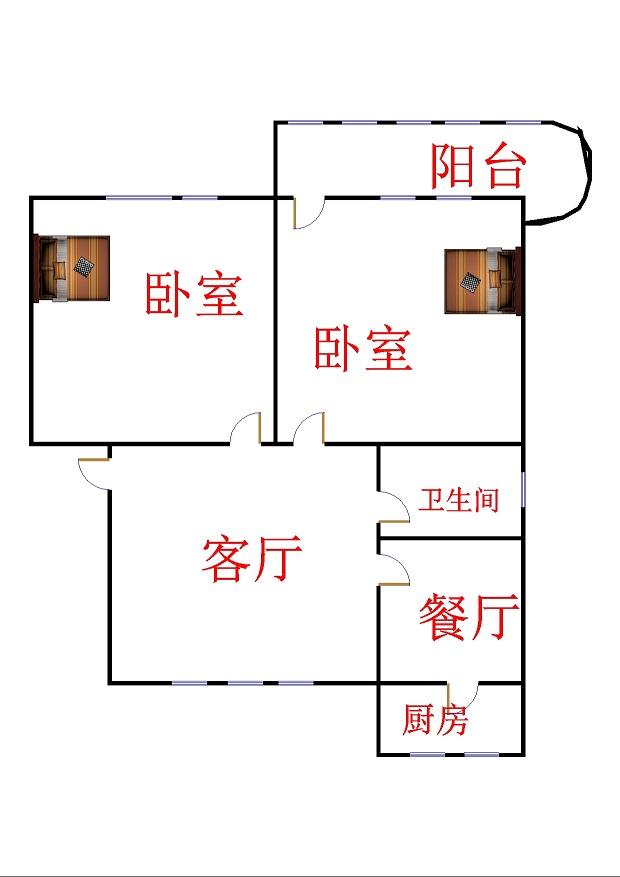 晶峰宿舍 2室2厅 5楼