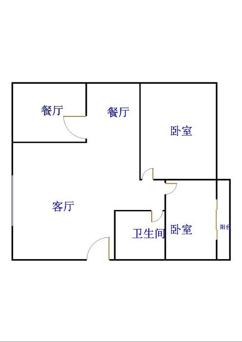 岔河紫薇园 2室2厅  简装 105万