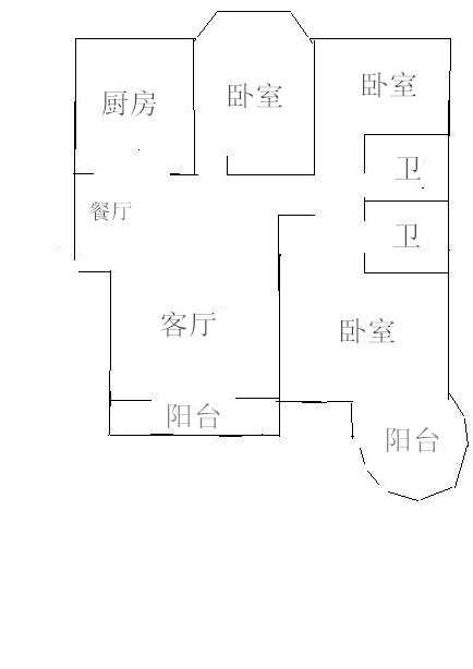 月亮湾 3室2厅  毛坯 120万