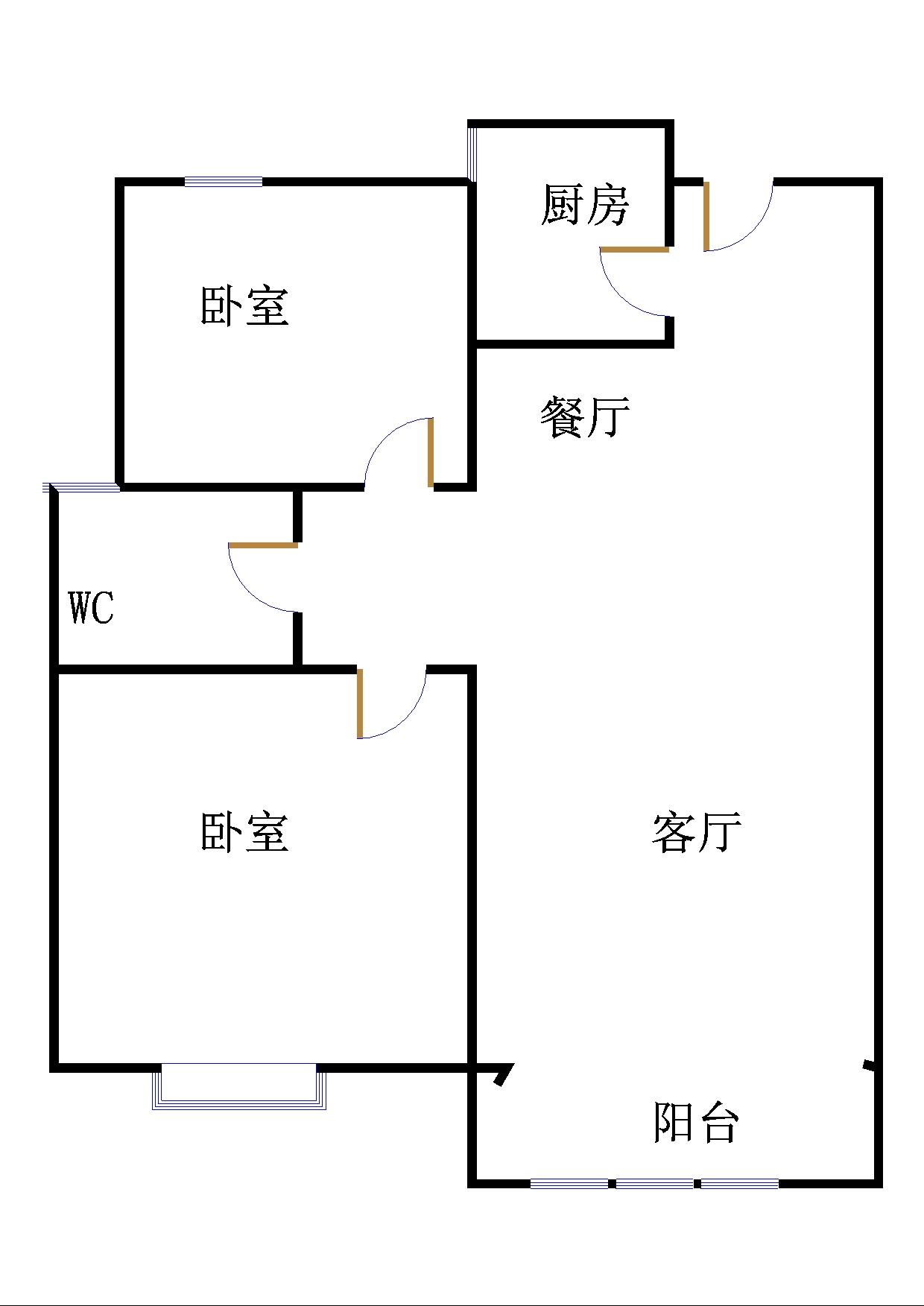 唐人中心 2室1厅  毛坯 120万