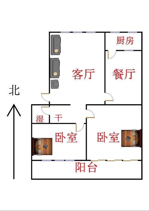 皇明宿舍小区 2室2厅 2楼