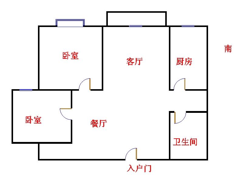 嘉城盛世 2室2厅  毛坯 95万
