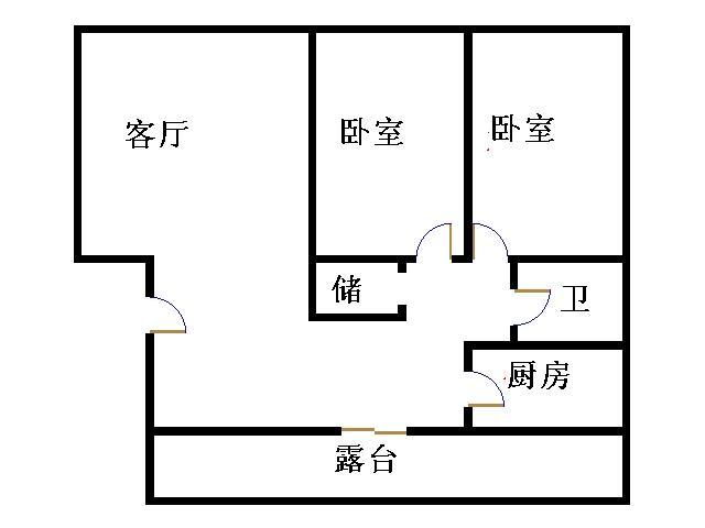 新城市花园小区 2室2厅 6楼