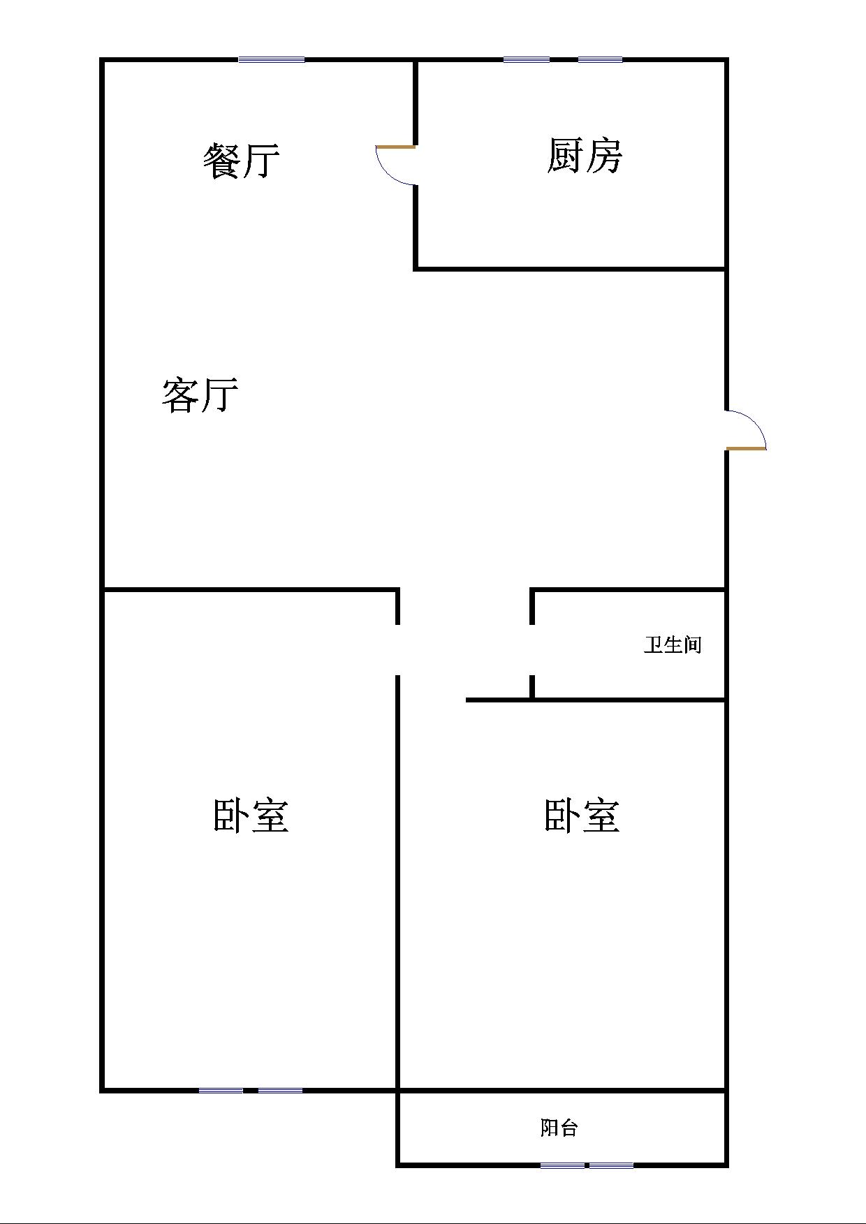 鑫龙家园 2室2厅 双证齐全 简装 95万