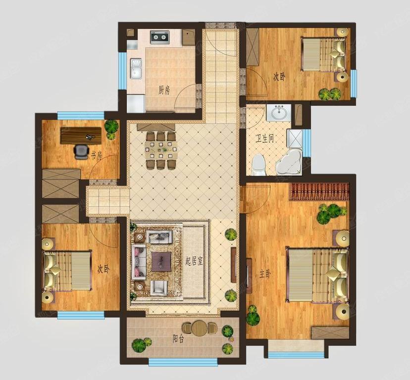 康博公馆 4室2厅  精装 140万
