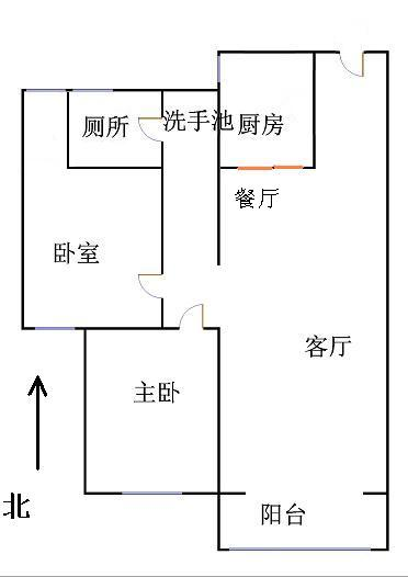 唐人中心 2室2厅 7楼