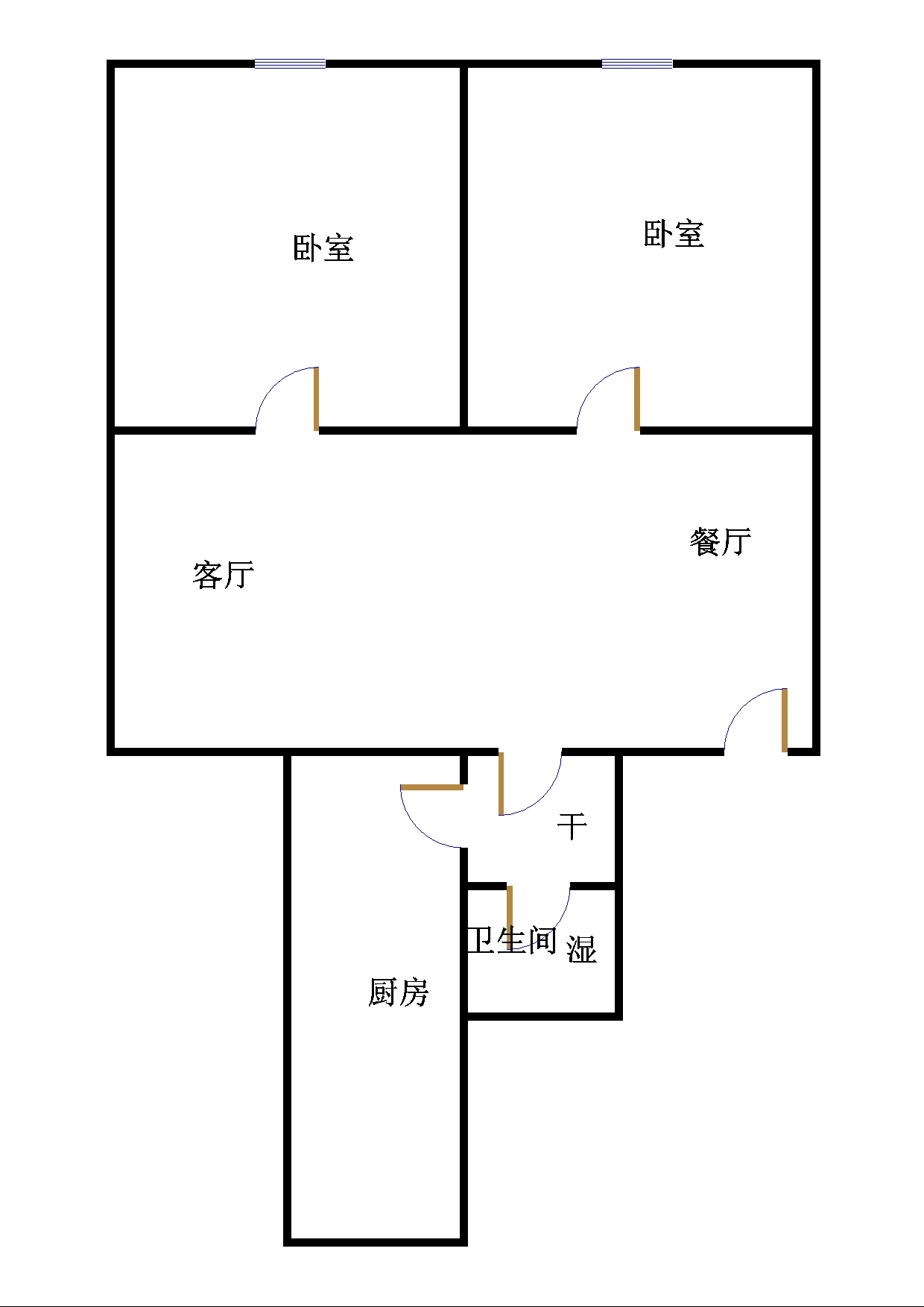 湘江小区西区 2室2厅 双证齐全 简装 83万