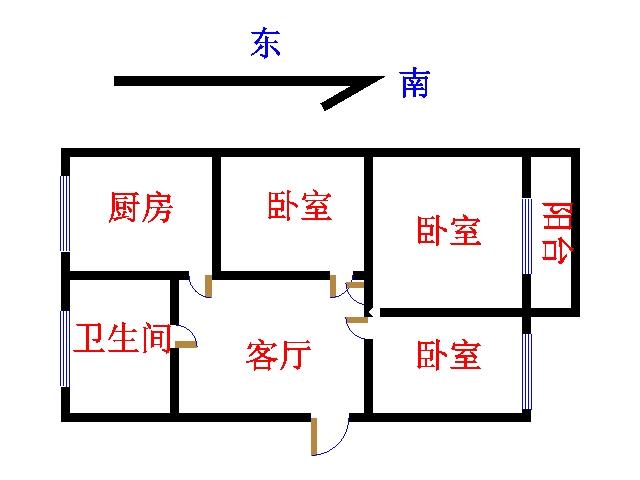 中原输气公司北区 2室1厅 双证齐全 简装 71万