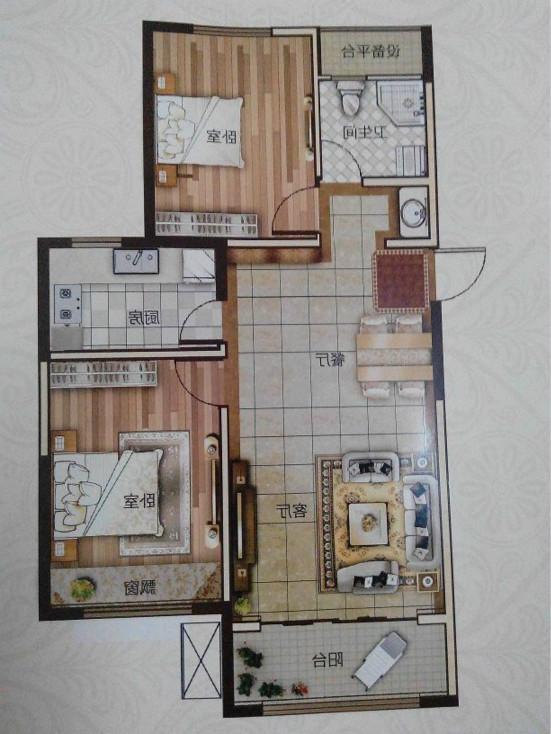 万达广场 2室2厅  精装 120万