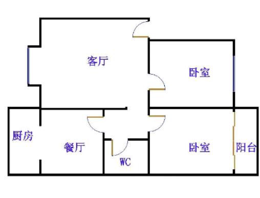 阳光花园小区 2室2厅  简装 90万