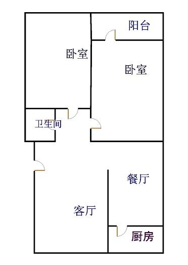 阳光花园小区 2室2厅  简装 113万
