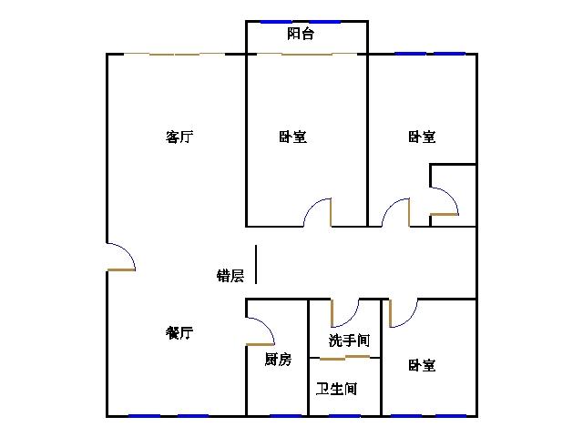 地税局宿舍 3室2厅  简装 125万
