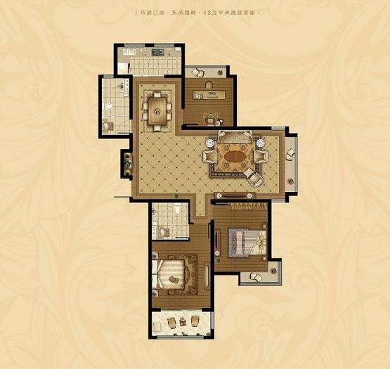 东海香港城 3室2厅 21楼