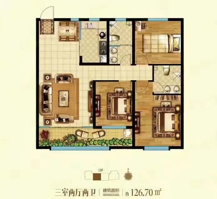 橡树湾 3室2厅  毛坯 105万