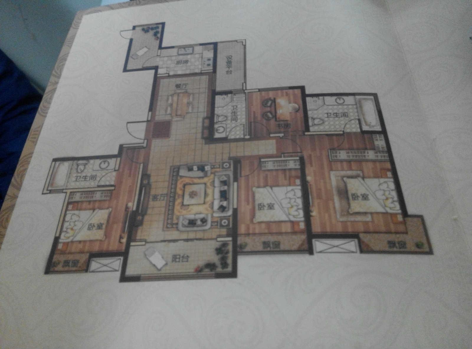 万达广场 4室2厅  毛坯 185万