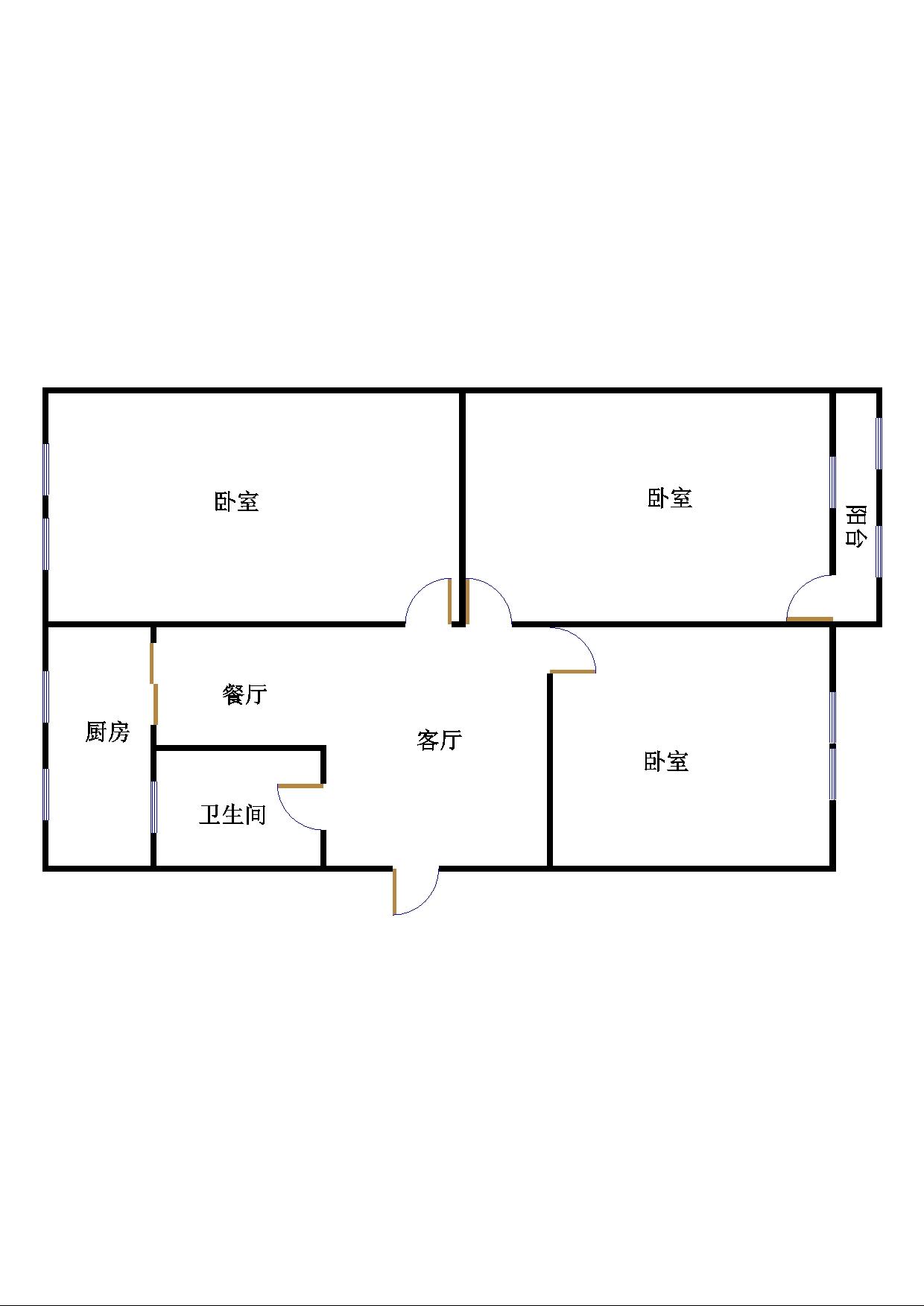 建委宿舍(园林处宿舍) 3室1厅 双证齐全 简装 170万
