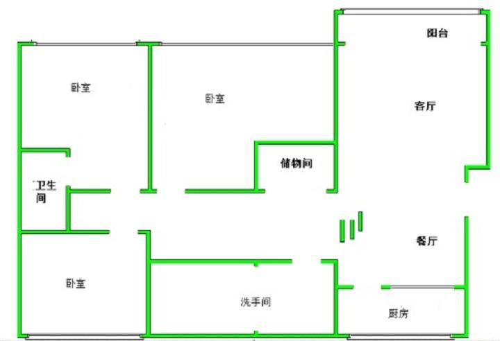 鸿运小区 3室2厅 双证齐全 精装 161万