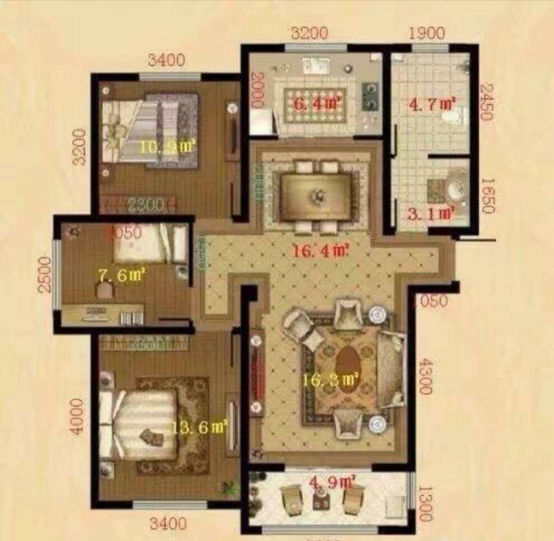 东海香港城 3室2厅  简装 128万
