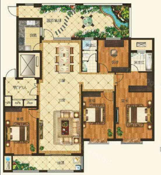 红星美凯龙国际广场 4室2厅 4楼