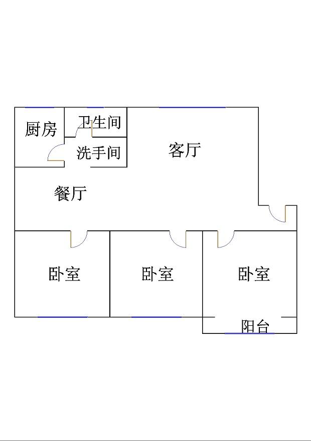 岔河紫薇园 3室2厅 双证齐全过五年 精装 145万