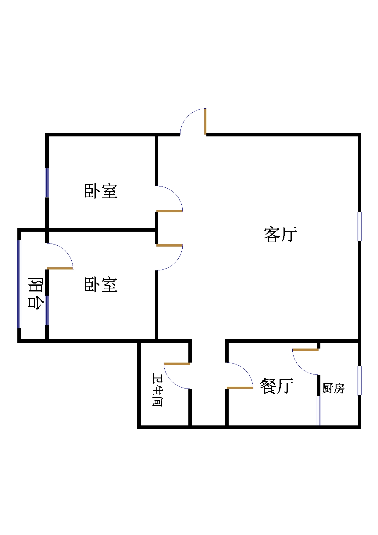 鸿运小区 2室1厅 3楼