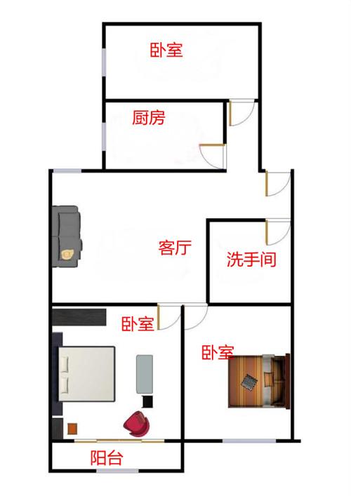 康乐小区 3室2厅 双证齐全过五年 简装 80万