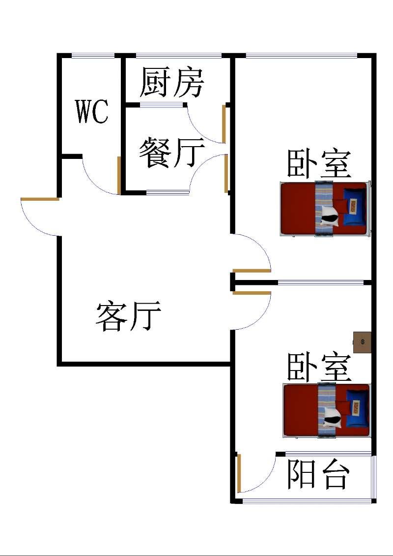 岔河小区 2室2厅  简装 67万