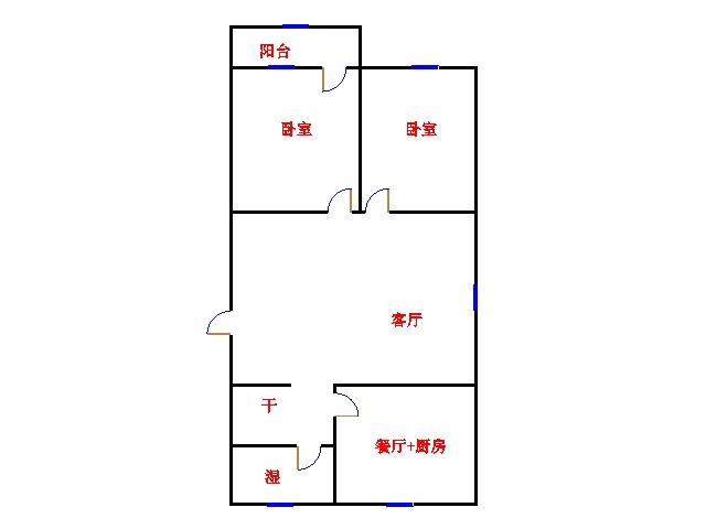南源港湾 2室2厅  简装 75万