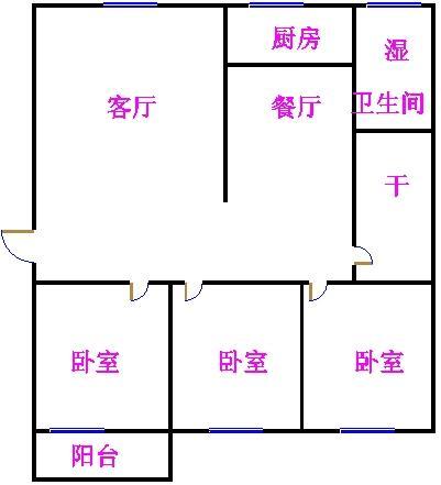 广川小区 3室1厅 双证齐全 简装 70万