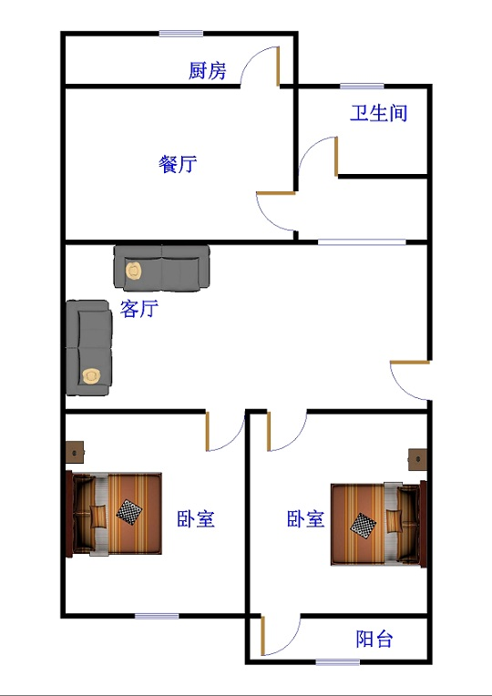 监狱宿舍 2室2厅 双证齐全 简装 72万