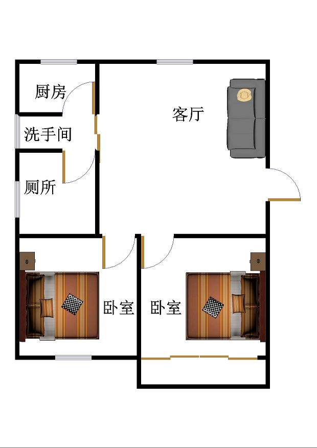 天华小区 2室2厅 双证齐全过五年 简装 62万