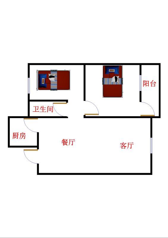 建兴小区南 2室1厅 双证齐全 简装 66万