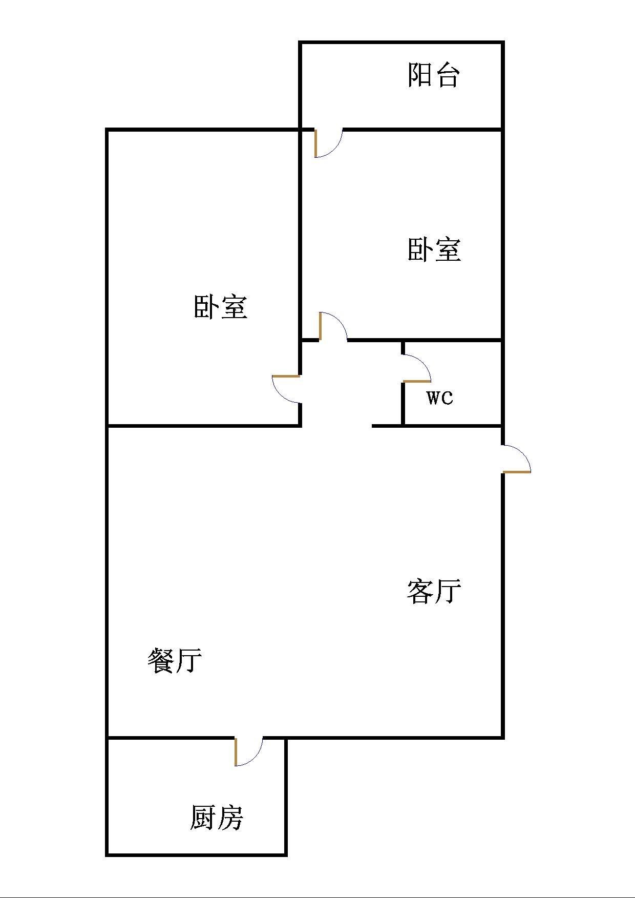天元公寓 2室2厅 双证齐全 简装 115万