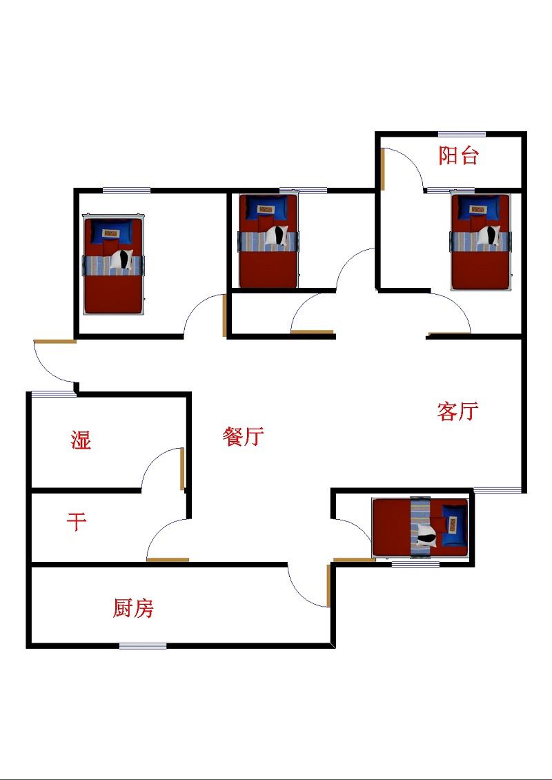 吕家街 4室2厅 双证齐全过五年 简装 120万