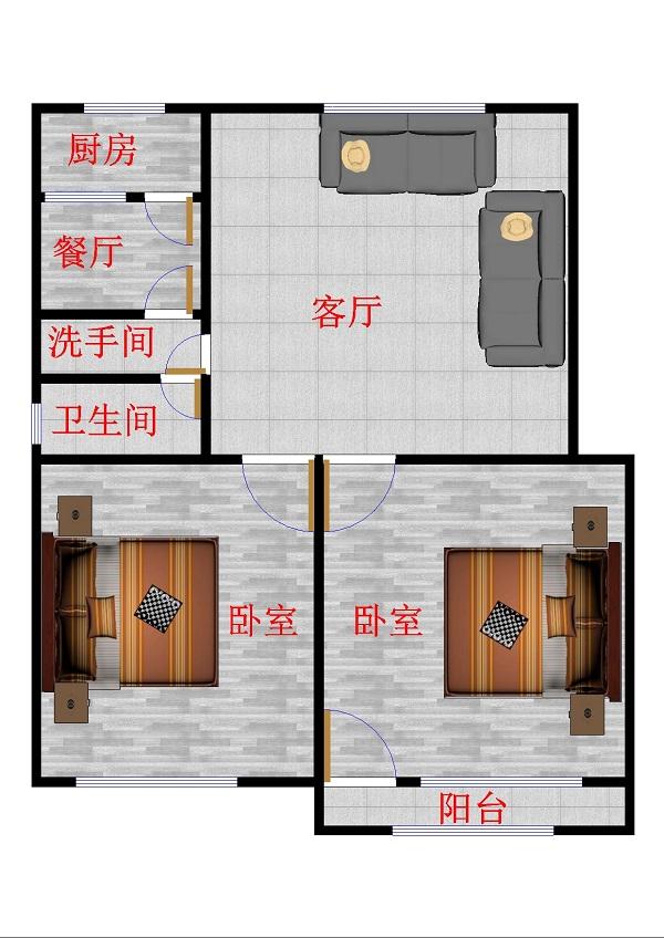 体育局宿舍 2室2厅 双证齐全 简装 136万