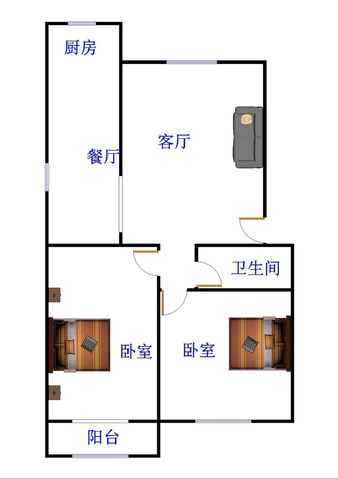 新华书店宿舍 2室2厅 双证齐全过五年 简装 62万