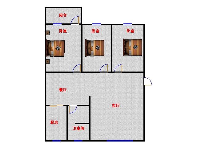 温馨家园 3室2厅  精装 118万