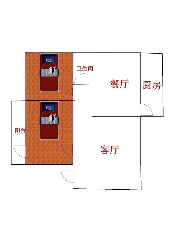 邹李小区 2室2厅 双证齐全 简装 65万