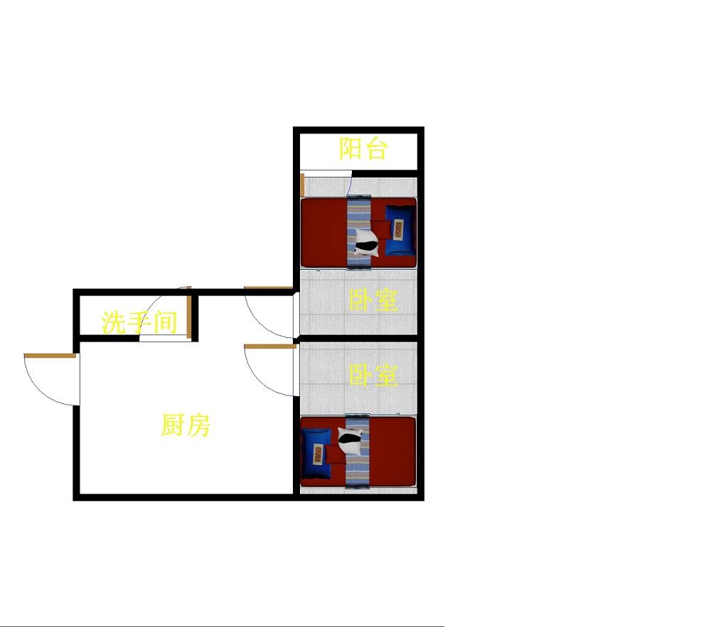 二棉宿舍 1室1厅  简装 62万