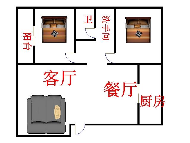 金腾豪庭 2室2厅  简装 95万