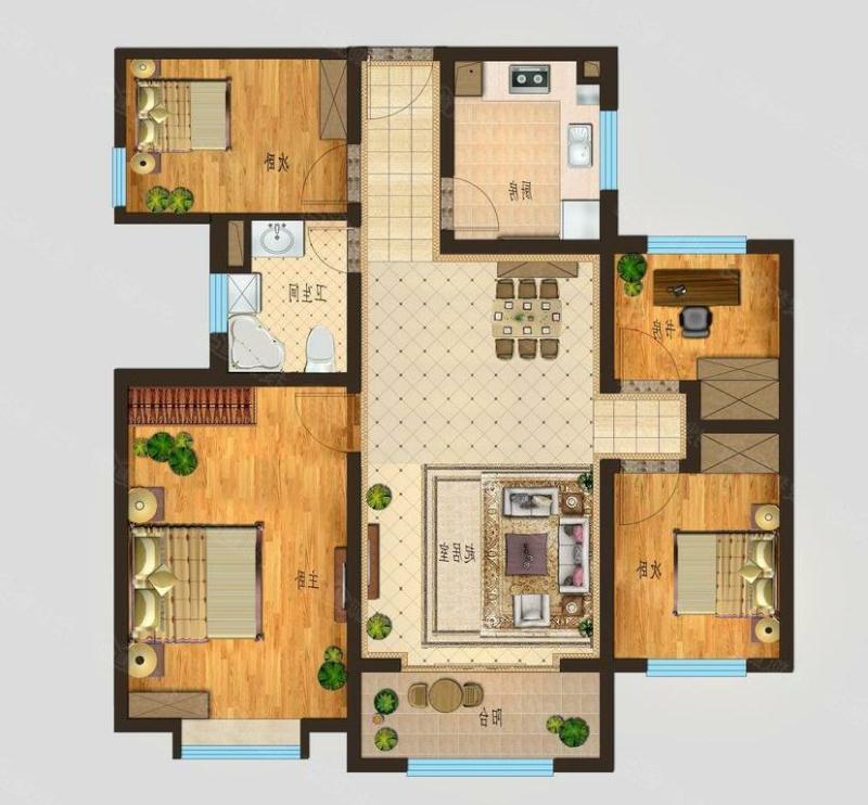 康博公馆 4室2厅 1楼