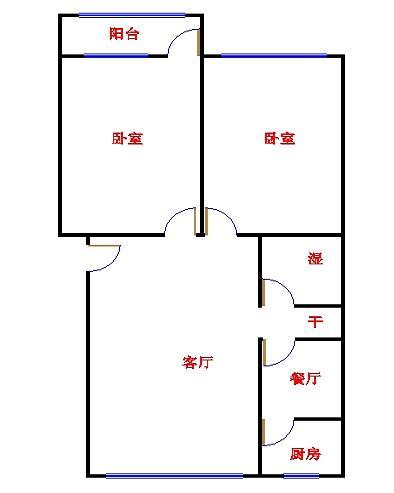 市直小区 2室1厅 4楼
