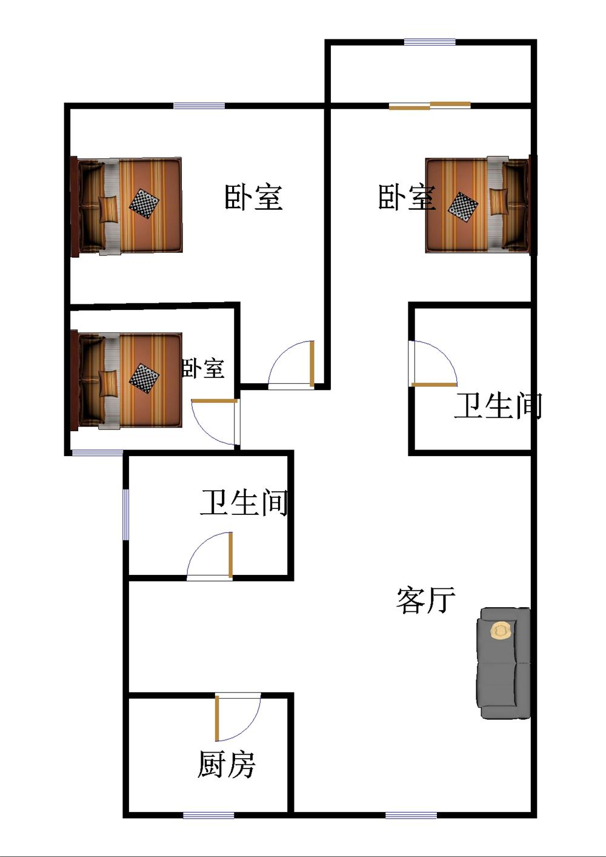盛世华园 3室2厅  简装 108万