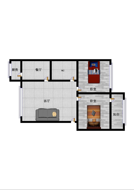 北园小区 2室1厅  简装 63万