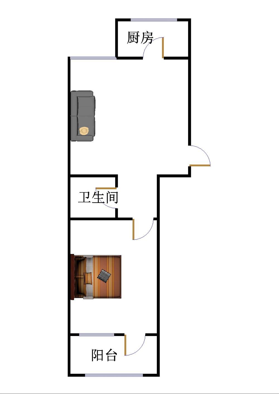 长河小区 1室1厅 过五年 简装 55万
