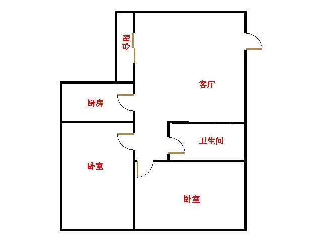 尚城国际 2室2厅 双证齐全 简装 63万