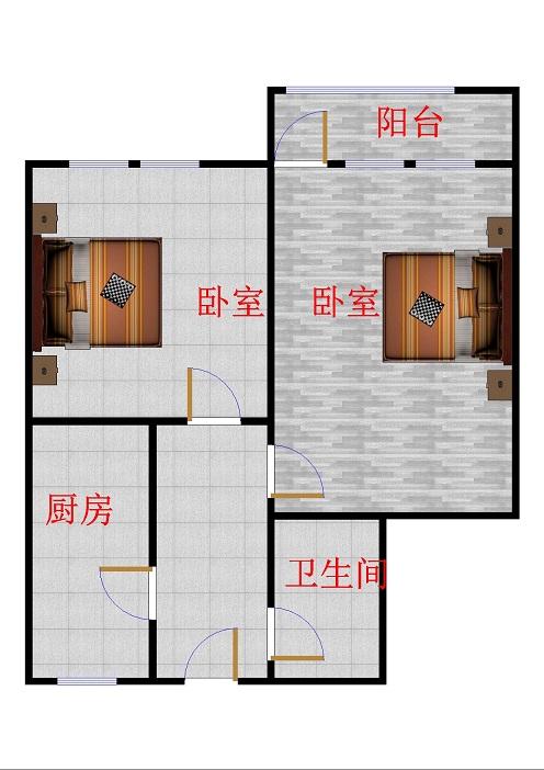 二棉宿舍 2室1厅 双证齐全 简装 62万